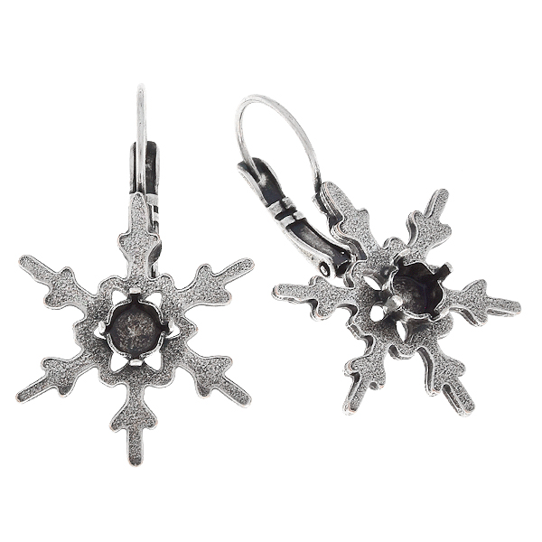 24ss Metal casting snowflake Lever back earring bases
