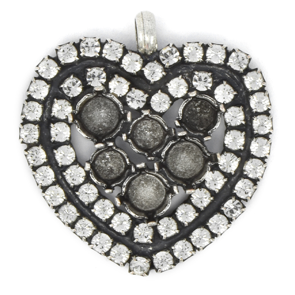 24ss, 29ss Heart shaped Pendant with 2 rows of Rhinestones