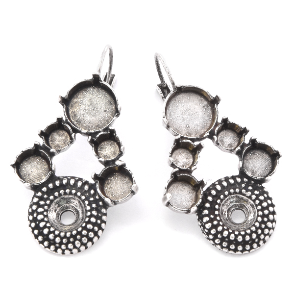 29ss, 39ss, 12mm Rivoli with dotted setting - Earring base
