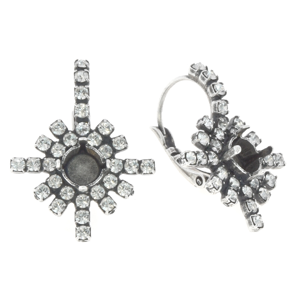 39ss Snowflake with Rhinestones Lever back earring base