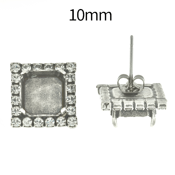 10mm Imperial 4480 Square Stud Earring bases with Rhinestoness