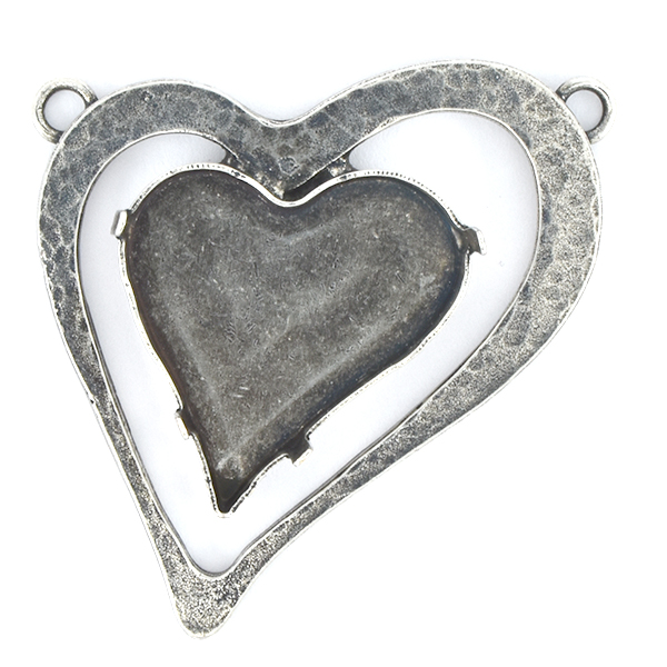 27x25mm Heart in Hollow Frame Pendant base with two loops