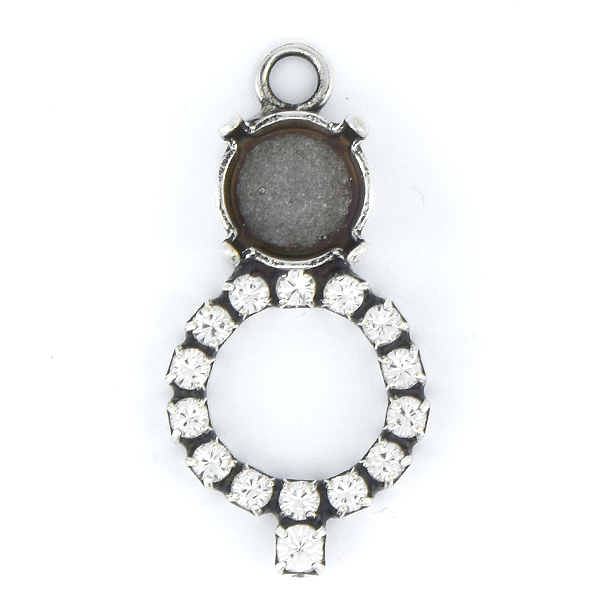 39ss with Hollow Circle of Rhinestones Pendant base with top loop