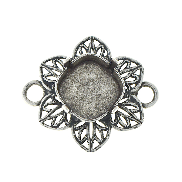 12x12mm Square Filigree flower pendant base with two side loops