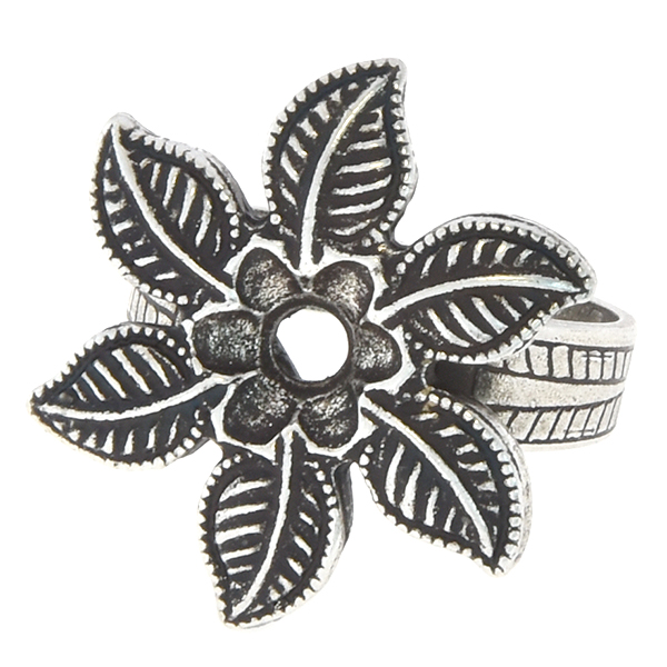 24ss Flower and leaves adjustable ring base