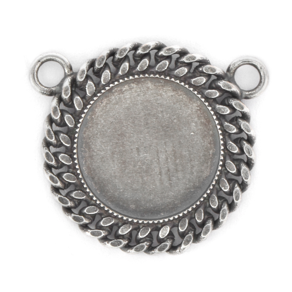 16mm Rivoli Flat back Pendant with chain and 2 top loops