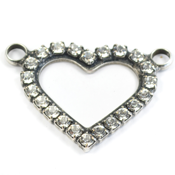 25-22mm Heart pendant with 2  top side loops and crystals