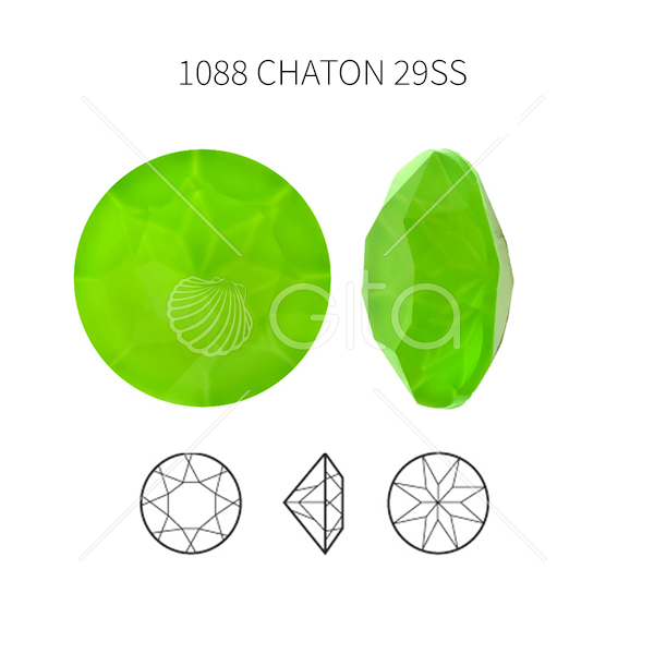 29ss/6mm Chaton 1088 Aurora Crystal Electric Green