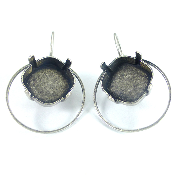 12x12mm Square Hollow Circle Earring base