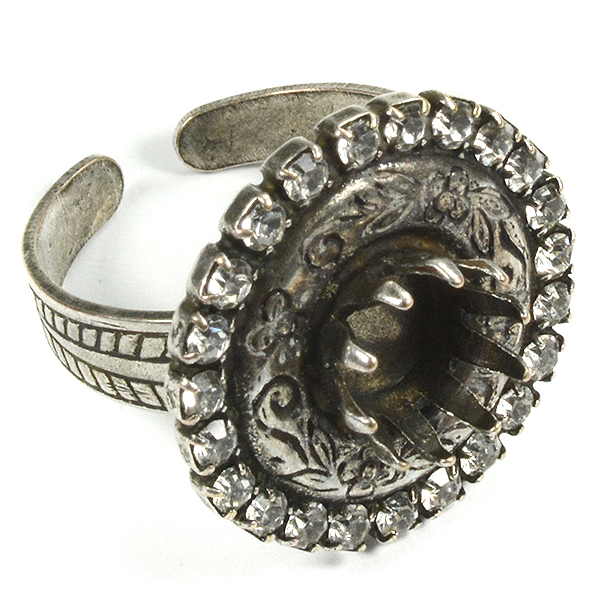 39ss Crown ring base with decorated round and Rhinestoness
