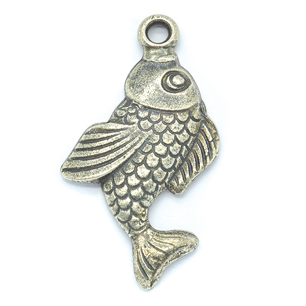 Fish Metal casting pendant with one top loop