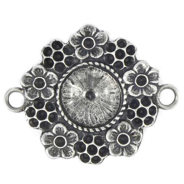 14pp, 8pp, 12mm Rivoli Casting Pendant setting with Flowers around and two side loops
