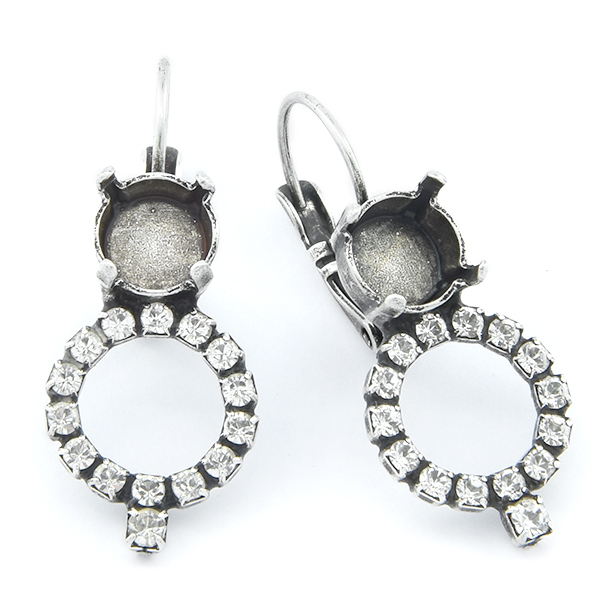 39ss with Hollow Circle of Rhinestones Lever back Earring base