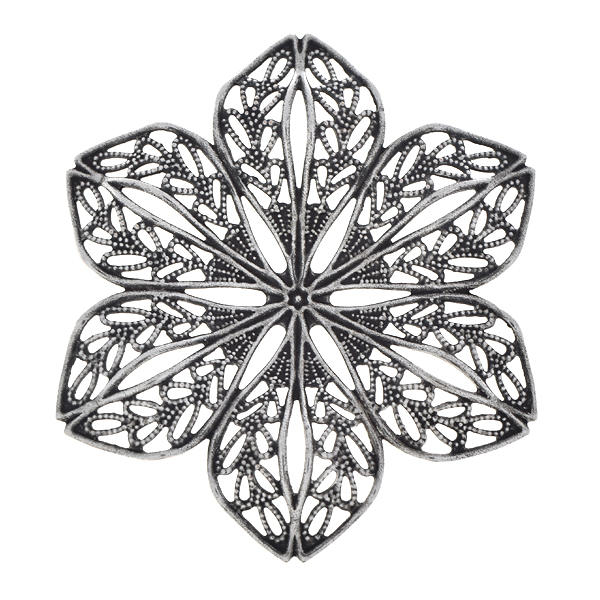 42.5mm Stamping metal filigree flower with convex petals - 2pcs pack