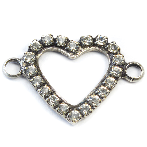 18-17mm Hollow Heart pendant base with 2 side loops