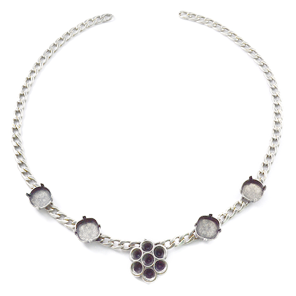 24ss Rivoli 12mm and Square 12X12mm Gourmet Necklace base