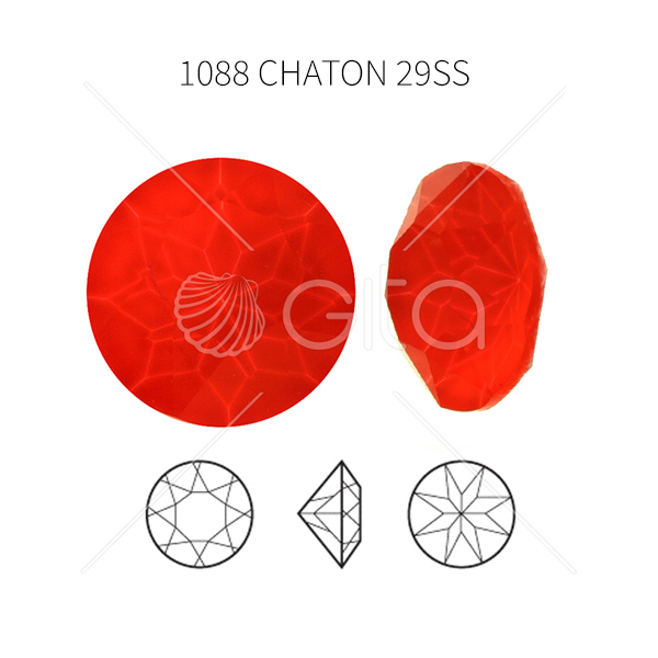 29ss/6mm Chaton 1088 Aurora Crystal Electric Red