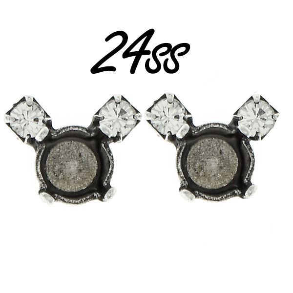 24ss stone settings with 18pp Rhinestones Dainty Mouse Stud Earring bases
