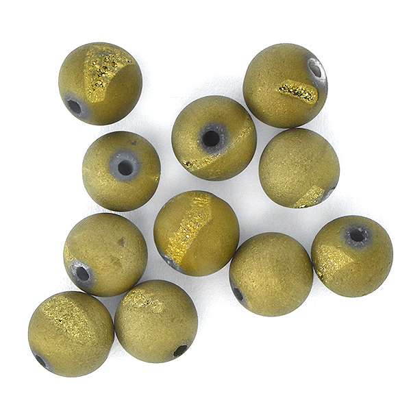 8mm Round Druzy Agate Geode Beads Gold Matte - 10pcs pack