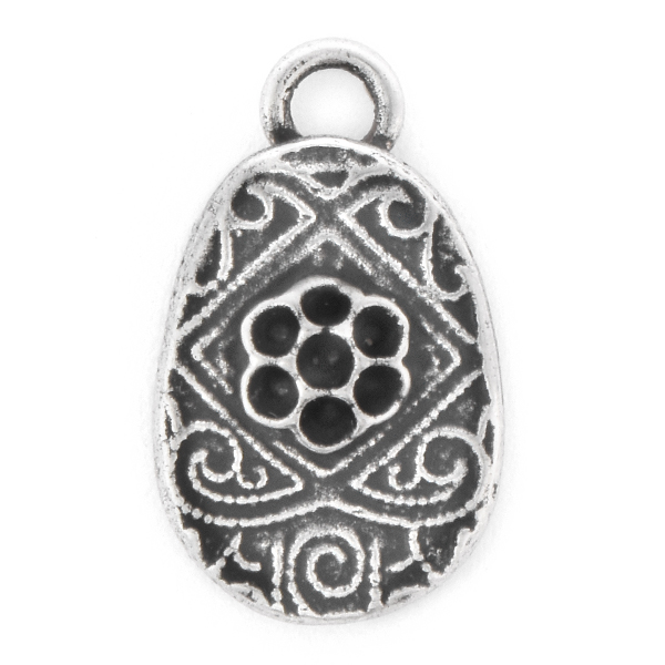 8pp Easter Egg Pendant base with top loop