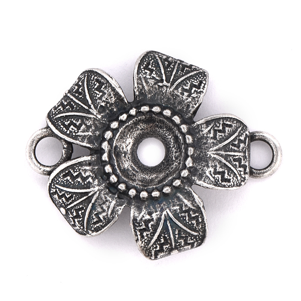 39ss metal casting flower connector with two side loops