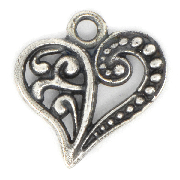 Decorated Heart Charm with top loop
