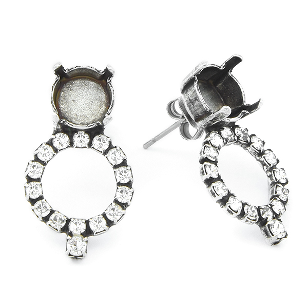 39ss with Hollow Circle of Rhinestones Stud Earring base