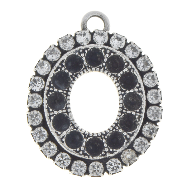 18pp Oval shaped pendant base with Rhinestones and top loop
