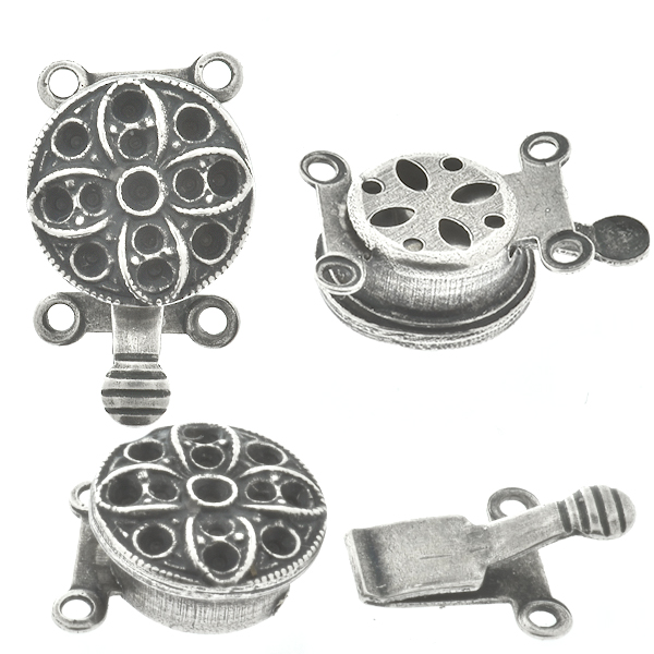8pp and 24pp metal casting flower on Decorated Hidden Round Box Clasp