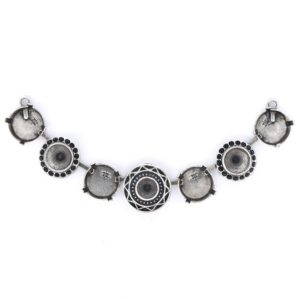 8pp, 29ss, 39ss, 12mm Rivoli Cup chain Centerpiece for Necklace - 7 settings
