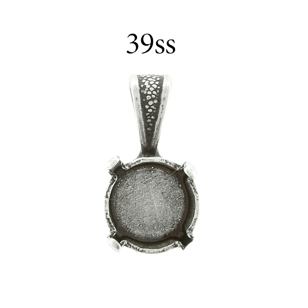 39ss round Pendant base with soldered wide bail