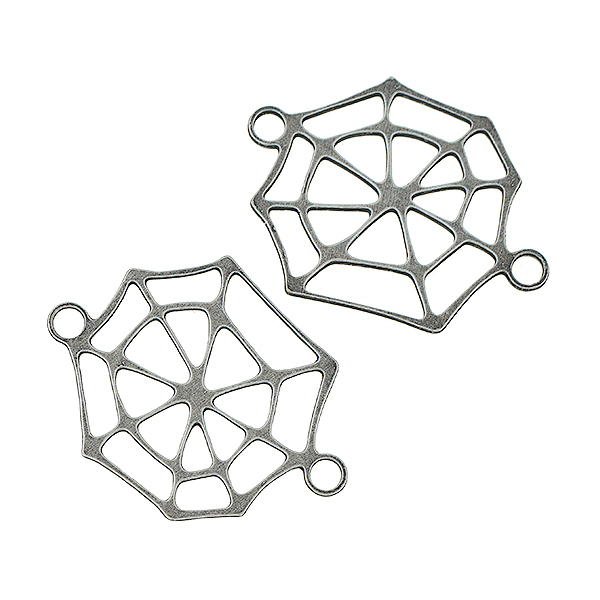 23x18mm Brass Cobweb jewelry connector with two loops - 4 pcs/pack