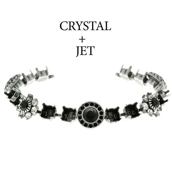 29ss cup chain and casting elements Bracelet base with Swarovski flower elements Jet color