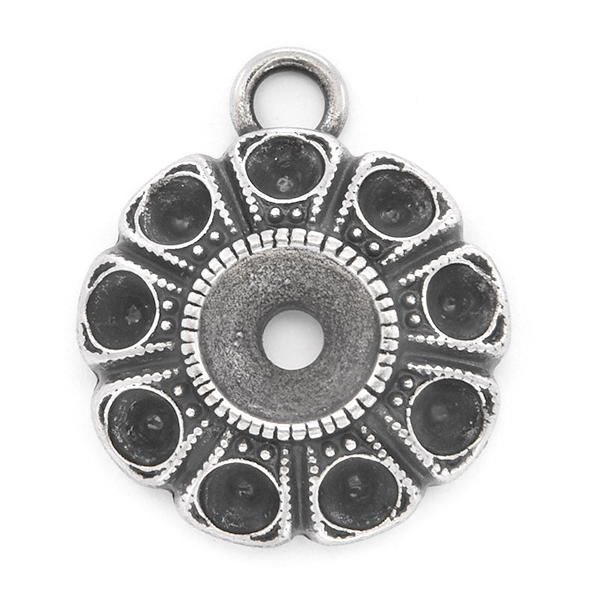 24pp, 29ss Flower pendant base with top loop
