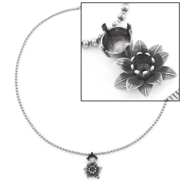 24ss, 39ss double layered Flower Chain Necklace base