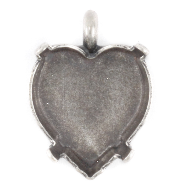 15.4x14mm Heart stone setting with top loop