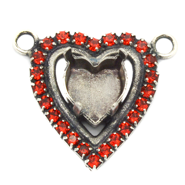 Heart 11X10mm Pendant base with Rhinestones with two top side loops