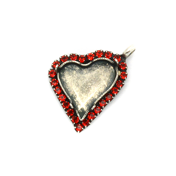 17x15.5mm Sweet Heart Fancy Pendant base with Rhinestoness and top side loop