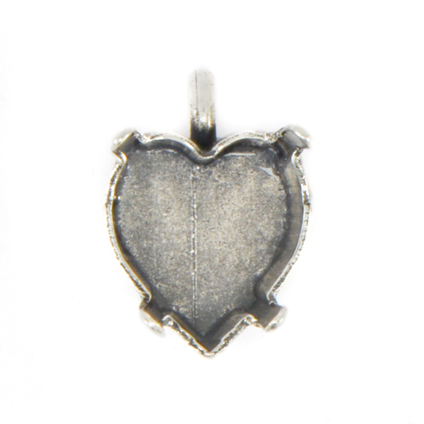 11x10mm Heart Stone setting with top loop