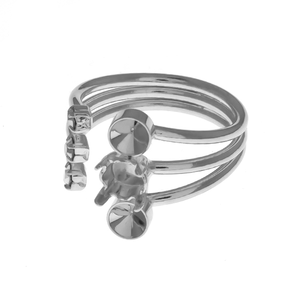32pp metal casting / 24ss settings and Rhinestones adjustable open multi layered ring base