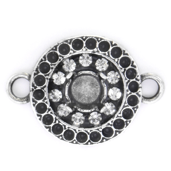 8pp, 29ss Round Jewelry connector with Rhinestones and two side loops