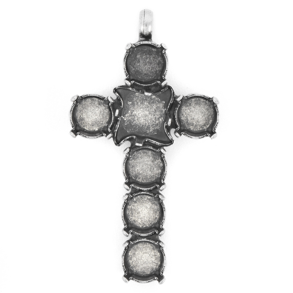 39ss, 10.5mm Twister Cross Pendant base with top loop