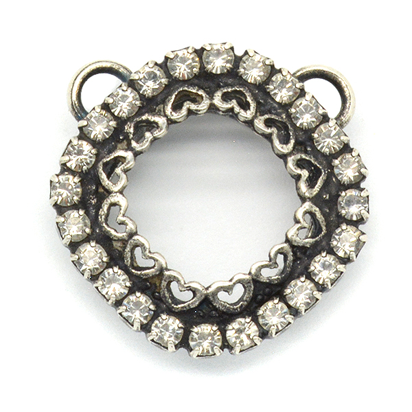Decorated Square 12X12mm Diamond shape Stone setting with Crystals Two 5mm top side loops