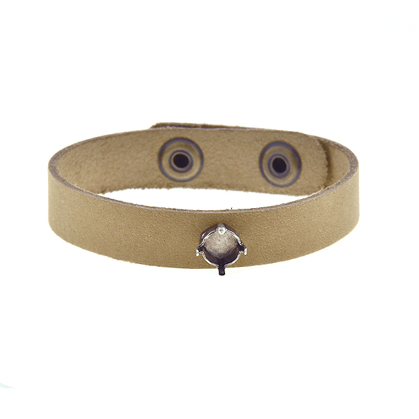 39ss empty stone setting on Thin natural leather cuff bracelet