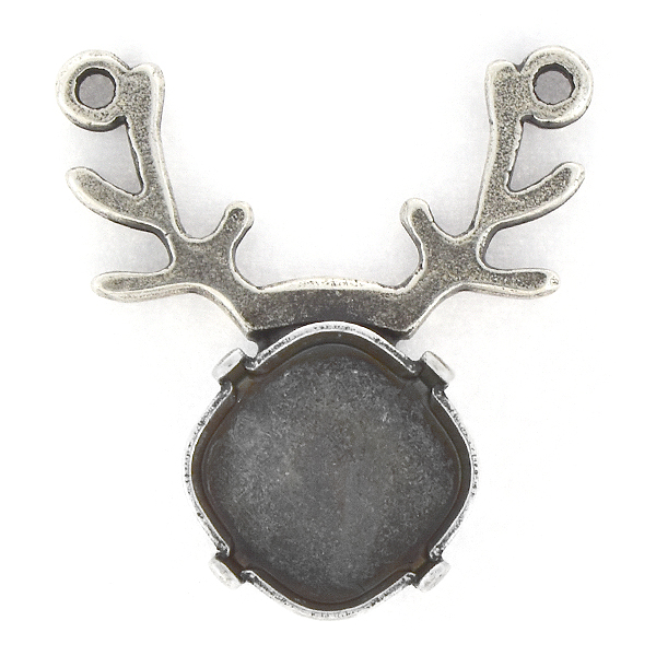 12x12mm Square Deer shaped Pendant base with two top loops