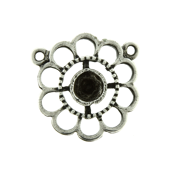 24ss Chamomile Flower metal casting Pendant base with two top loops