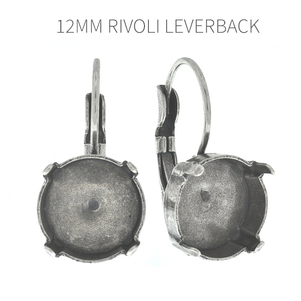 Empty 12mm Rivoli Lever back earring bases for embedding crystals