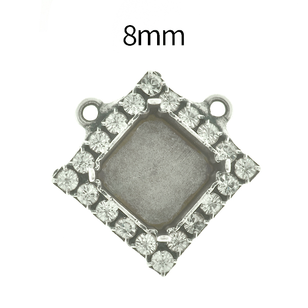 8mm Imperial  4480 Lozenge Stone setting with Rhinestoness and two top loops