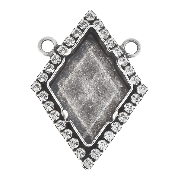 24x17mm Tilted Spike stone setting with Rhinestones and two top loops