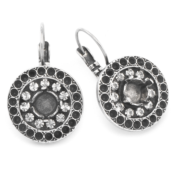 8pp, 29ss Round Earring base withRhinestoness